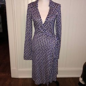 DVF Blue and White Wrap Dress